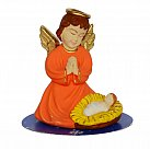 Figurka Aniołek z Dzieciątkiem pomarańczowy