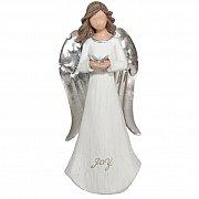Figurka Anioł biały srebrny radość