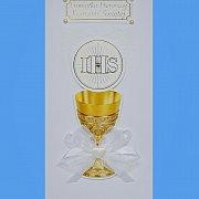 Karnet Pamiątka Pierwszej Komunii Świętej z kokardką