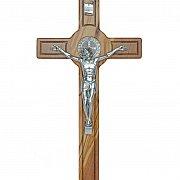 Krzyż św. Benedykta drewno oliwne duży