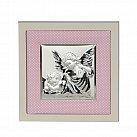 Obrazek srebrny ANIOŁ STRÓŻ różowa ramka