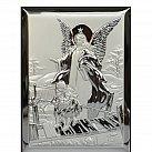 Obrazek srebrny ANIOŁEK NA KŁADCE 13x18