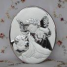 Obrazek srebrny Aniołek z Latarenką owal