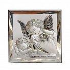 Obrazek srebrny ANIOŁ STRÓŻ Z LATARENKĄ 12x12