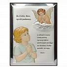 Obrazek srebrny ANIOŁEK kolorowy z modlitwą
