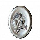 Pamiątka Pierwszej komunii świętej Obrazek srebrny dziewczynka oval 13x18