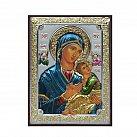Ikona srebrna Matka Boża Nieustającej Pomocy kolorowa mała