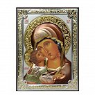 Ikona srebrna Matka Boża Włodzimierska kolorowa