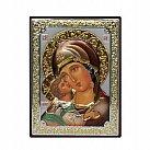 Ikona srebrna kolorowa Matka Boża Włodzimierska mała