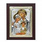 Ikona srebrna Święta Rodzina w drewnie