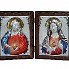 Dyptyk ikona Serce Jezusa i Serce Maryi