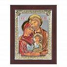 Ikona srebrna kolorowa Święta Rodzina w drewnie