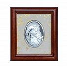 Obrazek srebrny Matka Boska z Dzieciątkiem w drewnianej ramie