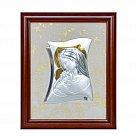 Obrazek srebrny Matka Boska z Dzieciątkiem aureola w drewnianej ramie