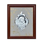 Obrazek srebrny Matka Boża z Jezusem ornament w drewnianej ramie