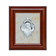 Obrazek srebrny Matka Boża z Jezusem w drewnianej ramie mniejszy