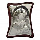 Obrazek srebrny Matka Boża z Dzieciątkiem na drewnie