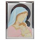 Obrazek srebrny MATKA BOŻA Z DZIECIĄTKIEM kolorowy