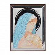 Obrazek srebrny MATKA BOSKA Z DZIECIĄTKIEM kolorowa