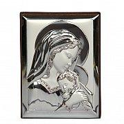 Obrazek srebrny MARYJA Z DZIECIĄTKIEM