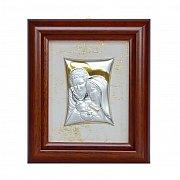 Obrazek srebrny ŚWIĘTA RODZINA w drewnianej ramie