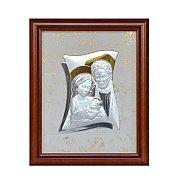 Obrazek srebrny ŚWIĘTA RODZINA w drewnianej ramie duży