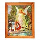 Obrazek w ramce Anioł Stróż kładka drewno 20x25
