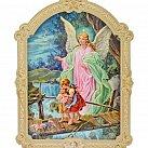 Obrazek na drewnie Anioł Stróż kładka 20 x 16