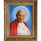 Obraz św. Jan Paweł II w ozdobnej ramie 50x70 na płótnie