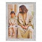 Obraz Jezus z dzieckiem biała przecierana rama duży