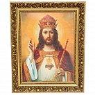 Obraz Chrystus Król w ozdobnej ramie