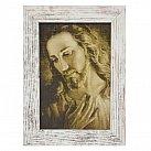 Obraz Jezusa ze zdjęcia brata Elia biała przecierana rama mała