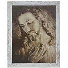 Obraz Jezus wg brata Elia biała przecierana rama duża