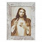 Obraz Serce Jezusa mały biała przecierana rama