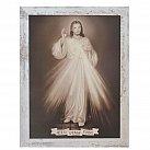 Obraz Jezu Ufam Tobie duży biała przecierana rama