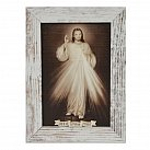 Obraz Jezu Ufam Tobie biała przecierana rama mała