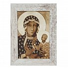 Obraz Matka Boska Częstochowska mała biała przecierana rama