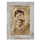 Obraz Matka Boża Tuląca mała biała przecierana rama