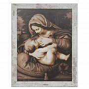 Obraz Matka Boża Karmiąca duży biała przecierana rama