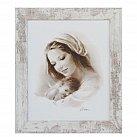 Obraz Matka Boża na białym tle biała przecierana rama