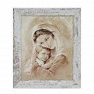Obraz Matka Boża Tuląca biała przecierana rama