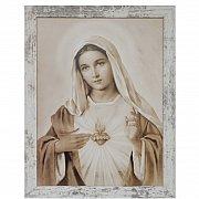 Obraz Serce Maryi duży biała przecierana rama