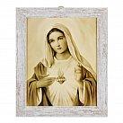 Obraz Serce Maryi biała przecierana rama