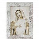 Obraz Serce Maryi mały biała przecierana rama