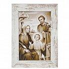 Obraz Święta Rodzina biała przecierana rama mała