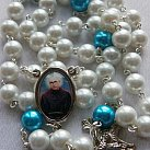 Różaniec ze św. Maksymilianem Kolbe biały