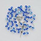 Różaniec kryształkowy niebieski okuwany