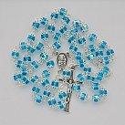 Różaniec kryształkowy błękitny okuwany