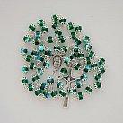 Różaniec kryształkowy zielony opalizowany okuwany