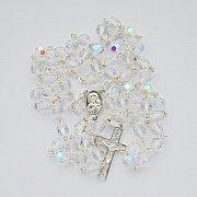 Różaniec kryształ ze srebrem przezroczysty opalenizowany